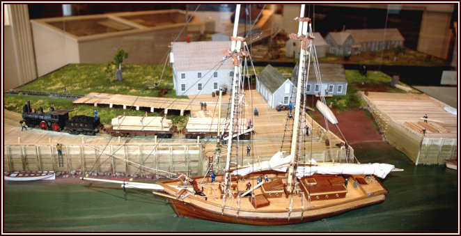 Peter Manchester's model of a sailing vessel at the Sackville wharf, circa 1887