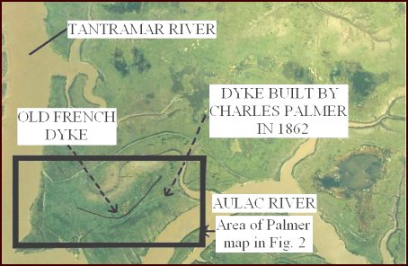 map with labels of Tantramar River, Old French Dyke, Dyke built by Charles Palmer in 1862, and Aulac River (area of Palmer map in Figure 2)