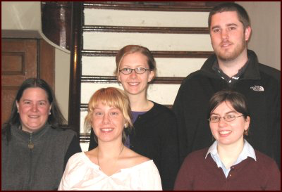"Group photo of Marianne Lagacé, Ina (""J.J."") Steeves, Jana Parks; Angela Hersey, Kellen Barrett"