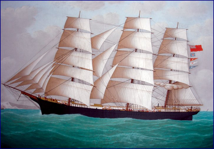 painting of 3-masted sailing vessel