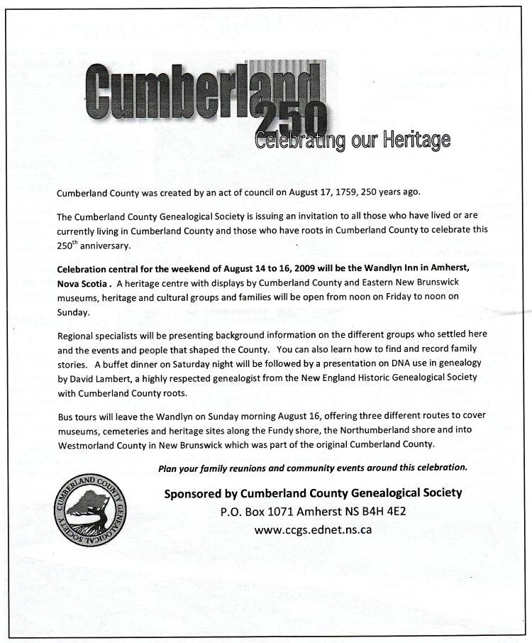 Cumberland Genealogical Society invitation to celebrate Cumberland County's 250th anniversary