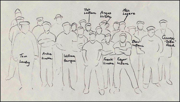 """Key to previous photo, identifying Tom Landy, Archie Lirette, William Bourque, Pat LeBlanc, Angus Lirette, Frank Lirette, Edgar Bourque, Mac Légère, Blair LeBlanc, and George """"Dode"""" Read."""