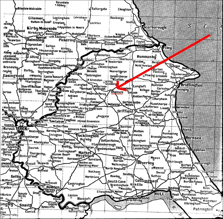Map of Yorkshire showing the location of Sledmere