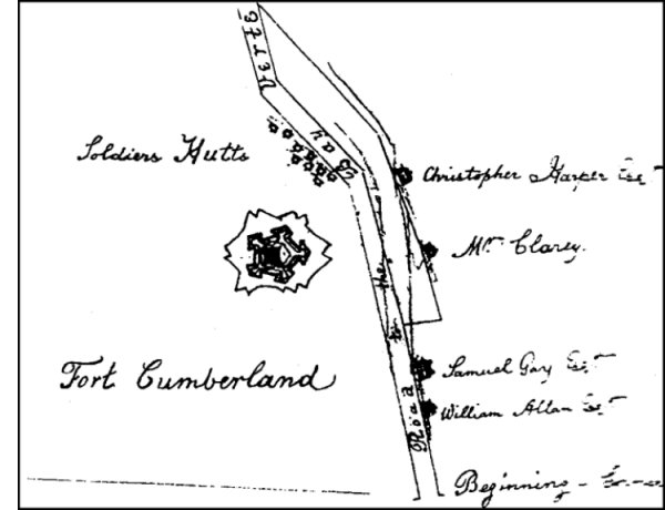 Map of Fort Cumberland showing the location of the Harper estate (from surveyor's plan at PANB - The Siege of Fort Cumberland).