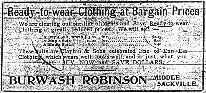 Burwash Robinson store ad in the local paper (year unknown, but probably around 1915–1920)