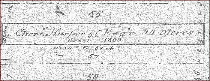 Photo of the Christopher Harper building lot 56 (44 acres)  in Letter B Division of Upper Rockport, N.B., granted in 1809