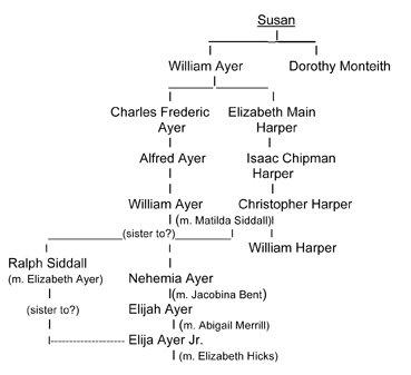 Susan Ayer family tree diagram