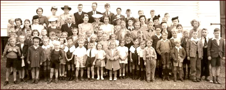 Al Smith discovered the names of 42 of the 65 (?) church members shown in this 1947 photo above. If you know of the members shown here, send in your guesses to the Heritage Trust and once all are identified, the photo with all the names will be shown in a later newsletter. Identify members by row (first row on bottom) and number, from left to right