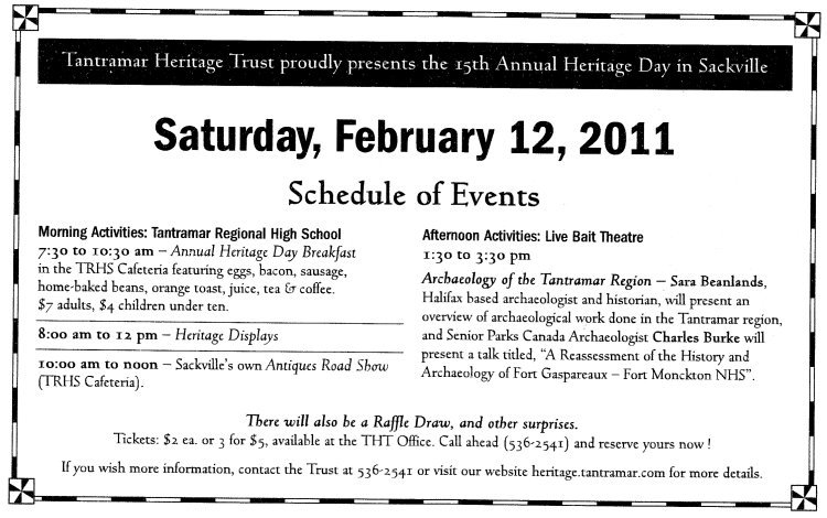 15th Annual Heritage Day, Schedule of events, 2011-02-12