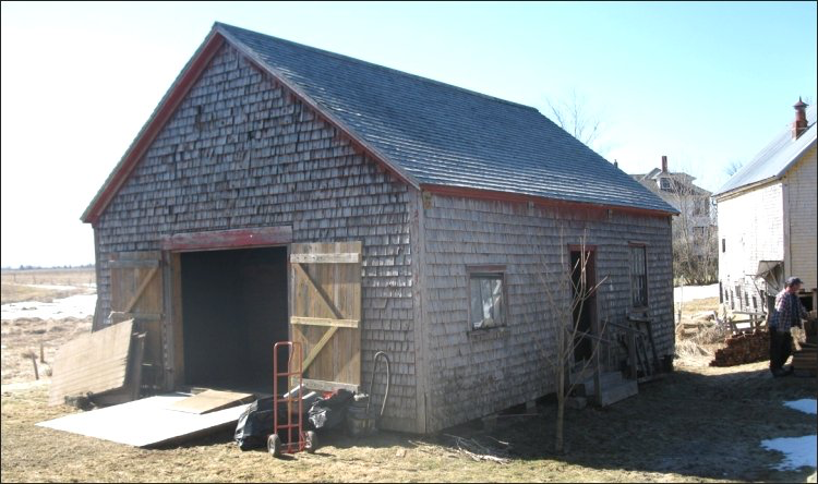 The Job Anderson blacksmith shop on Campbell Carriage Factory Museum property awaiting renovations