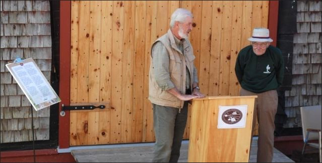 Paul Bogaard introduces Mr. Dan Lund who made the renovations to the blacksmith shop possible on the day of its official opening on 18 September, 2011.