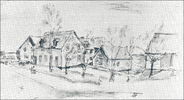 D.S. Fensom's sketch of the Campbell Carriage Factory in the 1970s. The Blacksmith Shop is the third building from the left.