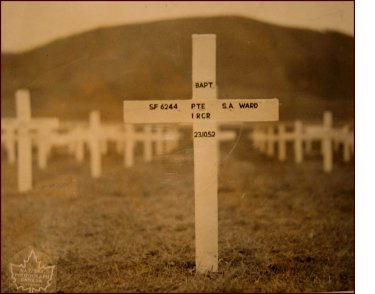 SF 6244, PTE S. A. Ward, 1 RCR, 23.10.52 — UNITED NATIONS CEMETERY (BUSAN), South Korea.
