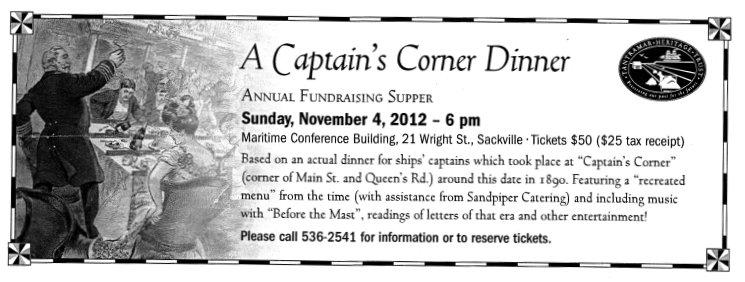 A Captain's Corner Dinner annual fundraising supper, Nov. 2012