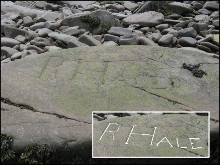 """""""R HALE"""" carved into a rock at Mary's Point, New Brunswick"""