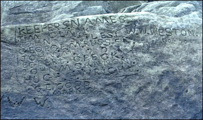 Lighthouse keepers' names carved into rock