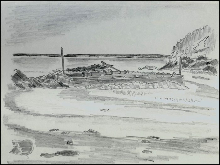 sketch of the Grindstone Island wharf in 1989