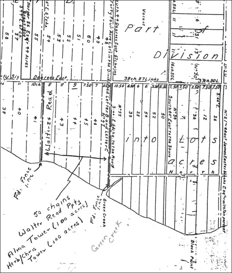 1808 Grant Map: The forty four acre lots in the Divisions Letter B and Letter C in Rockport