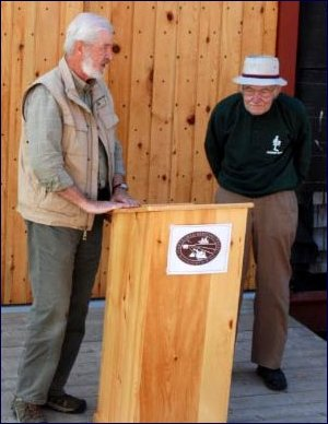 Another of many tributes to Daniel's dedication and support for the activities of the Trust, this time at the opening of the Blacksmith Shop, September 2012.