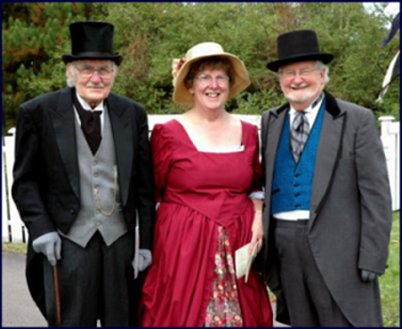 Daniel Lund with Phyllis Stopps and brother Kenneth in period costume at the opening of the Boultenhouse Heritage Centre, September 2006