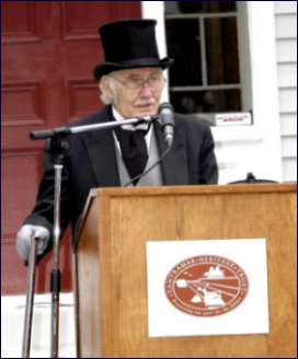 Daniel Lund, dressed as shipwright Christopher Boultenhouse, at the opening ceremony.