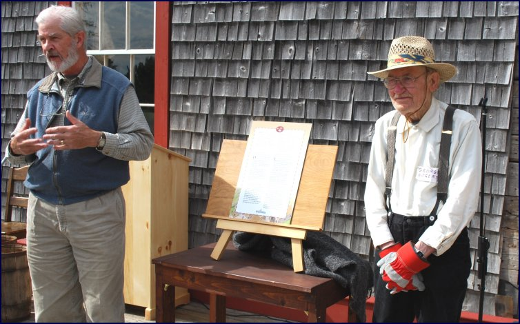 At the 2009 opening of the Campbell Carriage Factory Museum compound, Daniel is recognized by Paul Bogaard for his many contributions to the project