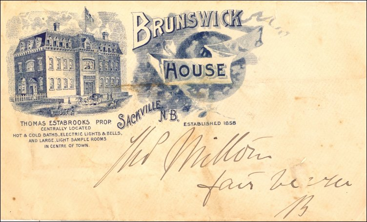 Return address on a Brunswick House envelope