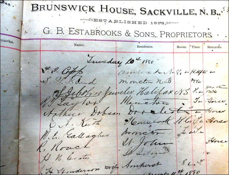 Photo of Brunswick House register page for Tuesday, August 10, 1880.