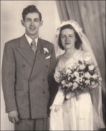 Wedding photo of Robert MacFadden and Claire Murray (18 June, 1946)