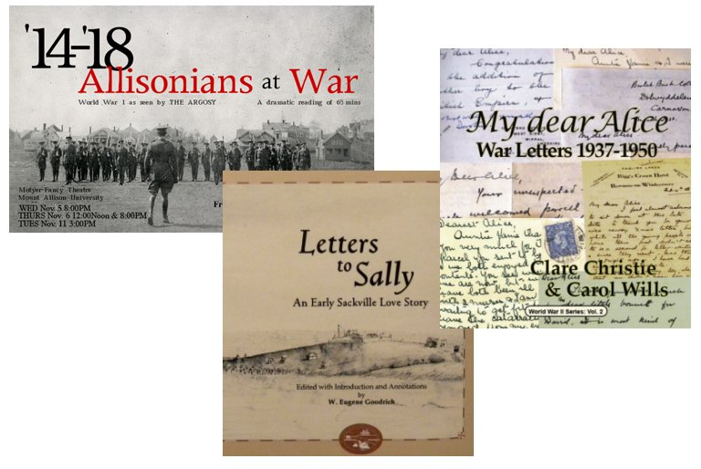 Book covers: '14–'18: Allisonians at War; My Dear Alice; Letters to Sally