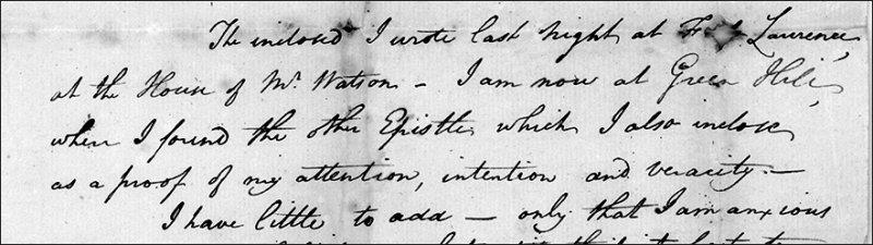 detail of hand-written letter