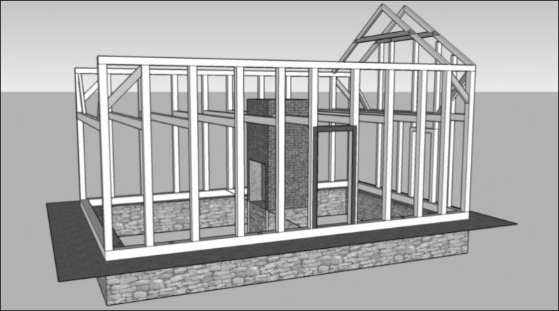 timber frame structure illustration