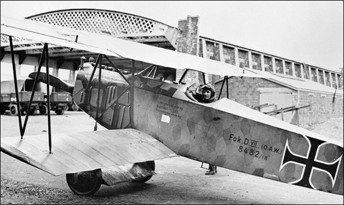 Albert Carter sitting in the cockpit of the German Fokker DVII