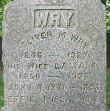 Photograph of tombstone for Oliver M. Wry and his family