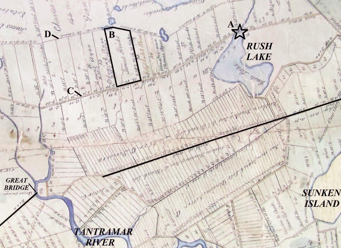 1791 grant map of the upper Tantramar Marsh
