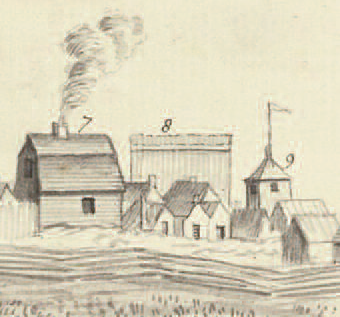 Enlargement of a portion of sketch of Fort Lawrence.