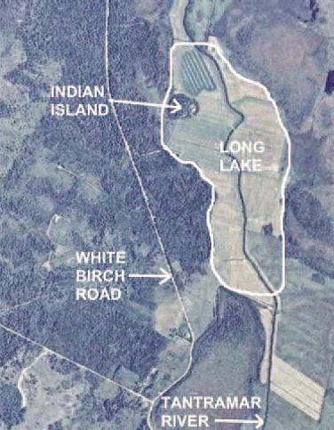 Aerial photograph of original Long Lake on the Tantramar River