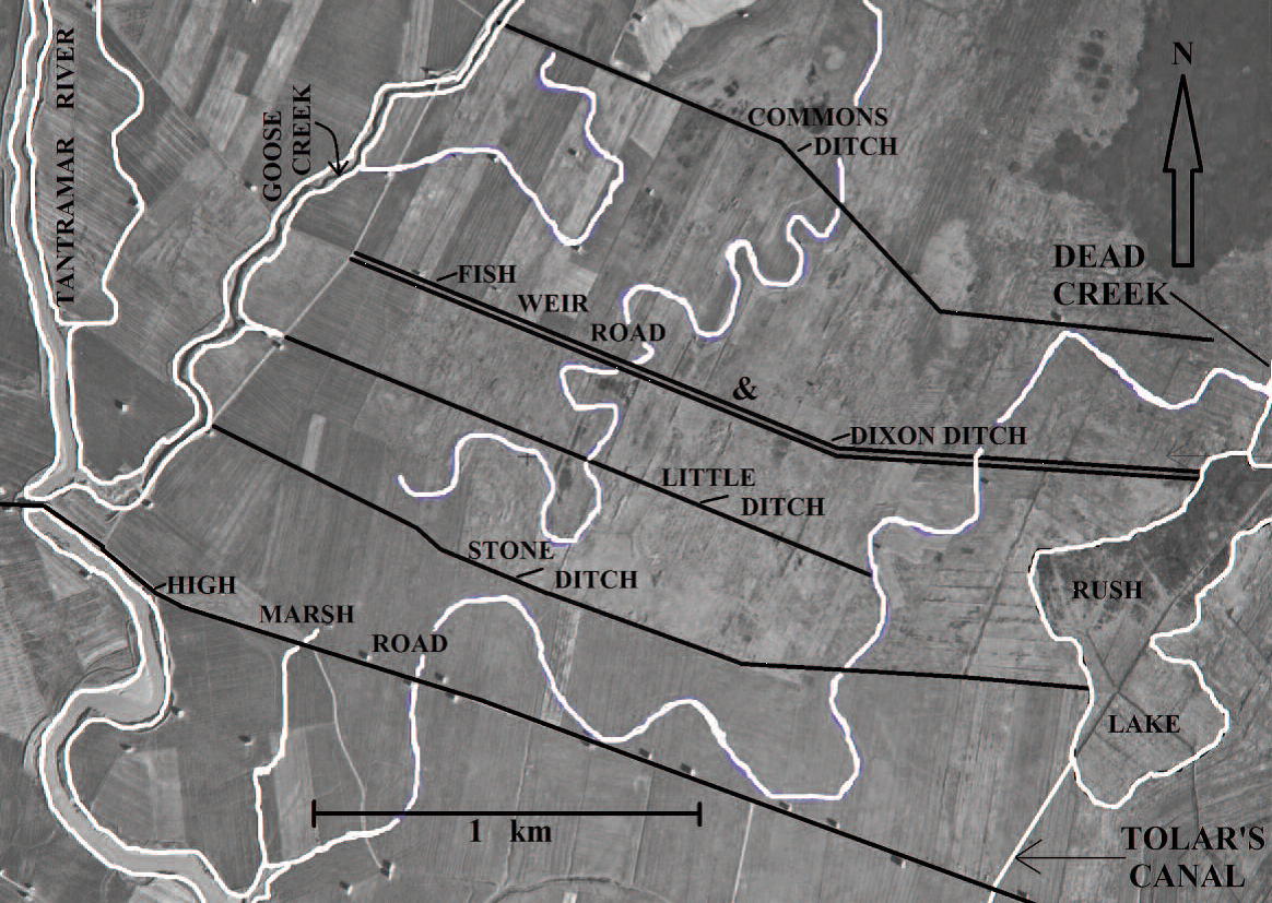Annotated aerial photograph of Tantramar dykelands