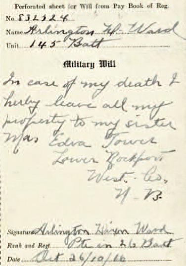 Note from Arlington Ward