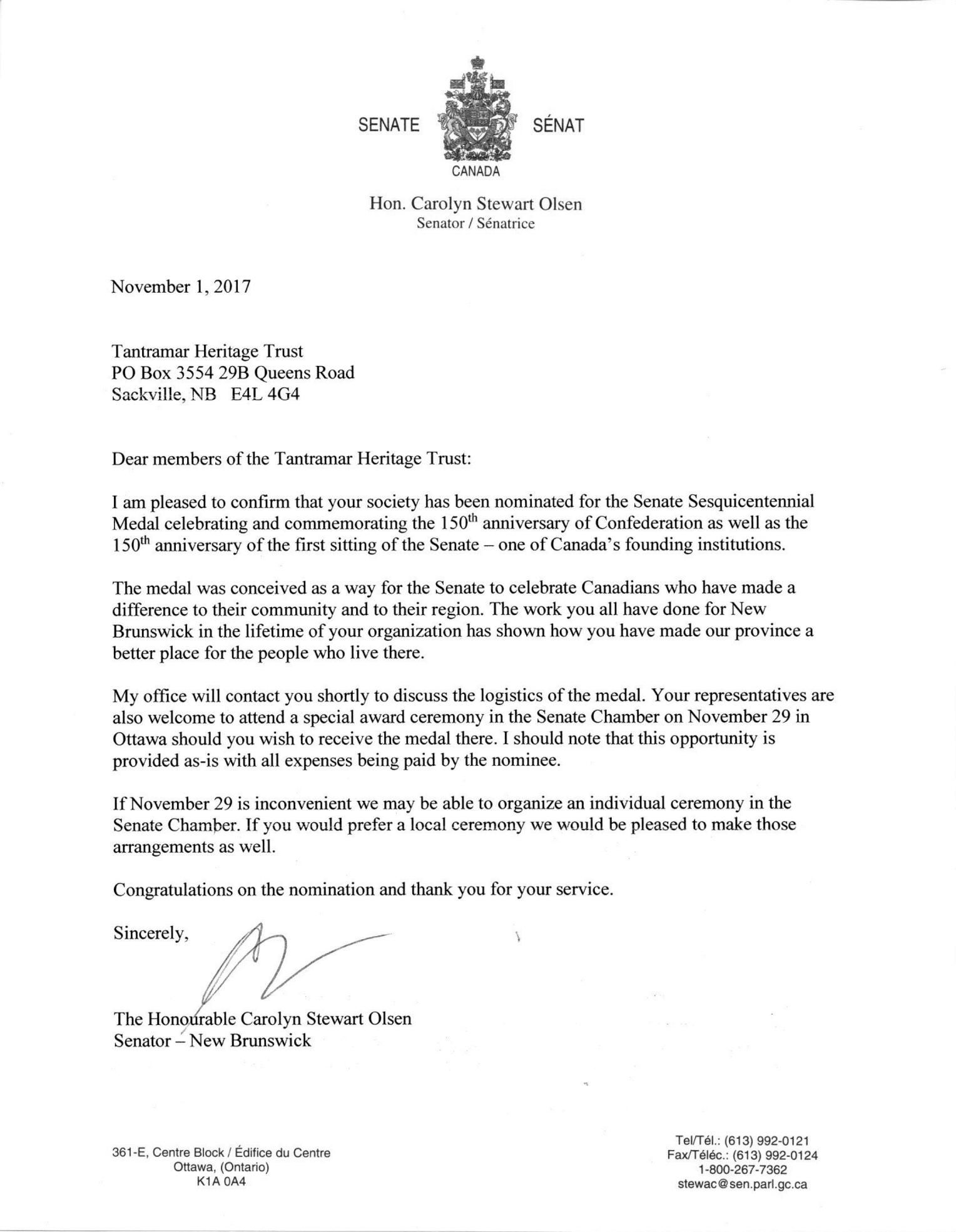 Letter from Senator Olsen to Tantramar Heritage Trust