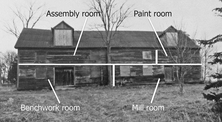 Photo of factory with four rooms labelled