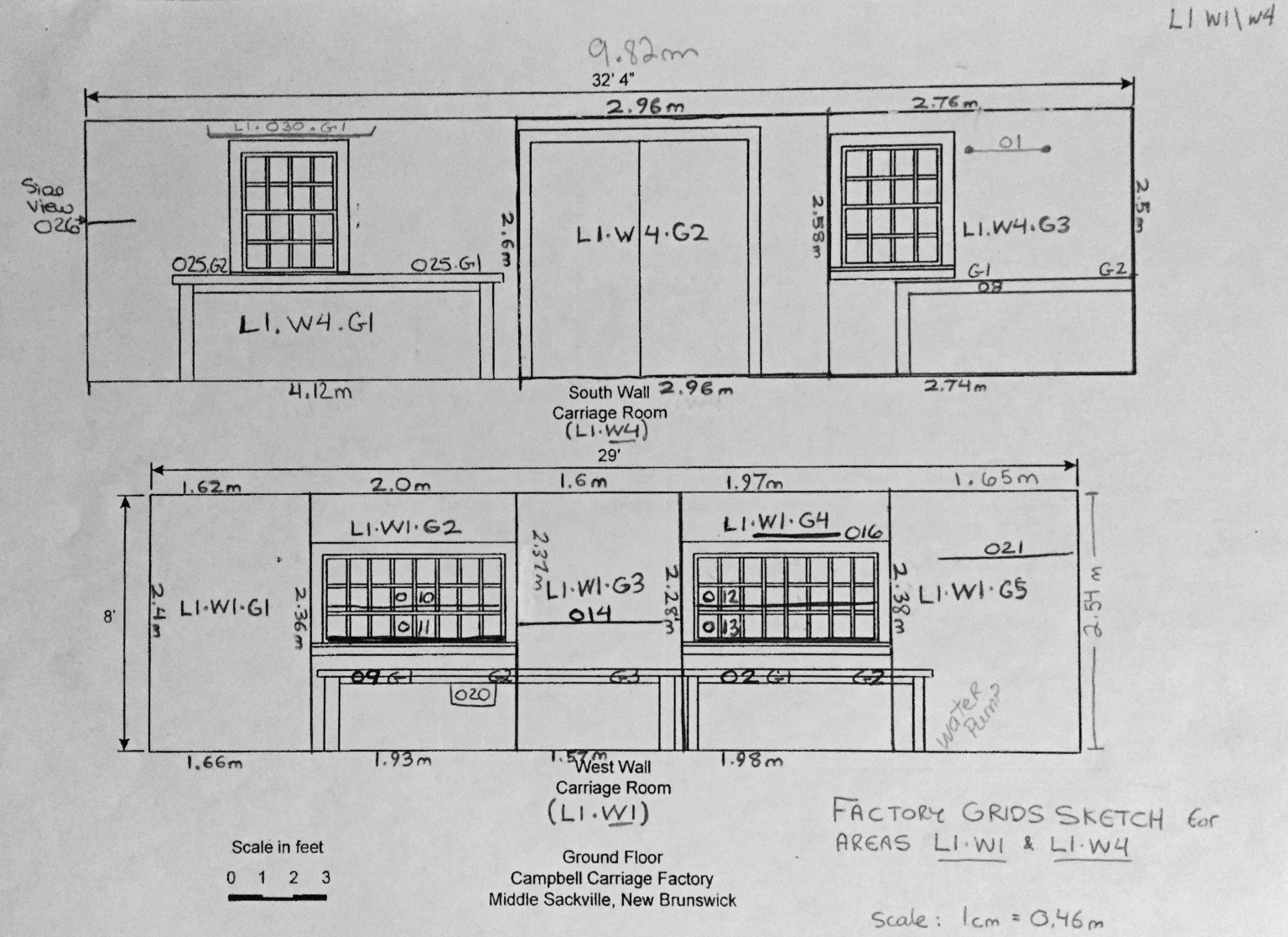 Drawing showing plan for grid codes at Campbell Carriage Factory
