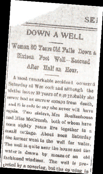 """Newspaper clipping """"Down a Well"""""""