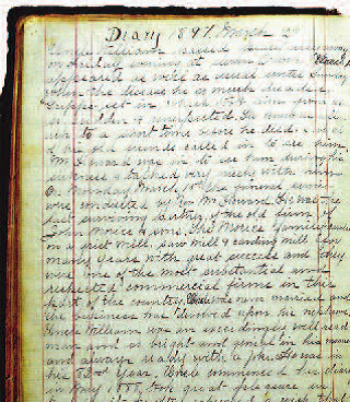 Page of Kate Morice's diary