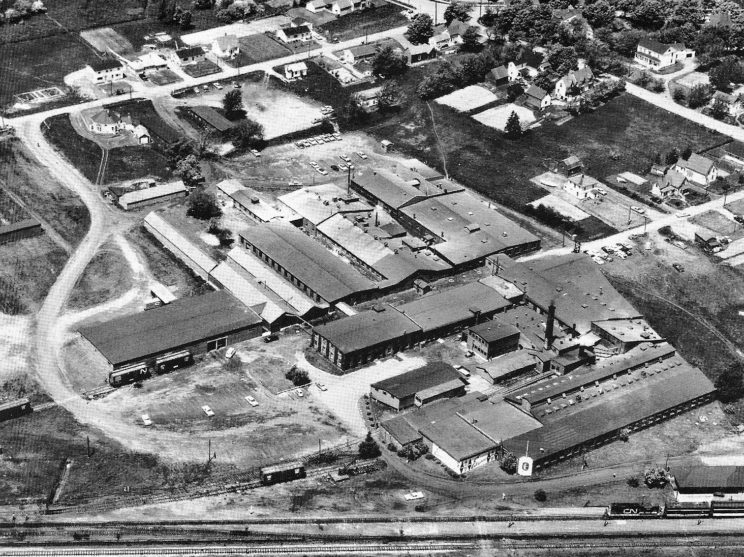 Aerial view of the Enterprise Foundry, Sackville, NB, circa 1965