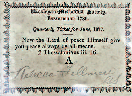 Wesleyan-Methodist Society Quarterly Ticket for June 1877