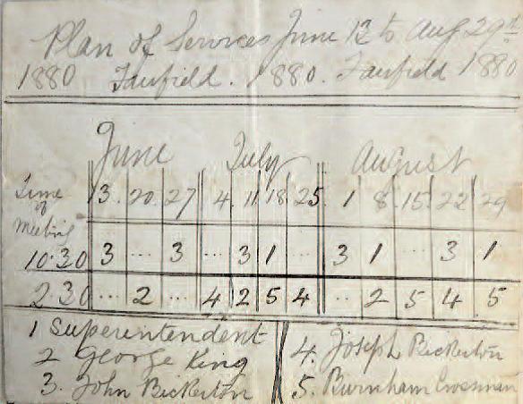 Schedule of Methodist Church services 1880