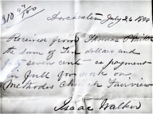 Receipt for work on Fairview Methodist Church 1898