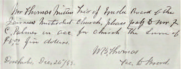 Bill for five dollars to be paid by Fairview Methodist Church 1899