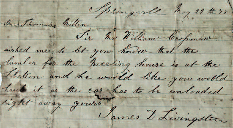 Letter dated May 22 1878 concerning construction of a meeting house